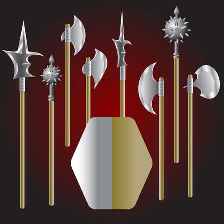 Illustration of medieval weapons and shield - vector Vector