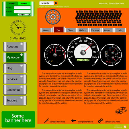 Vector template web site about automotive topics  Vector