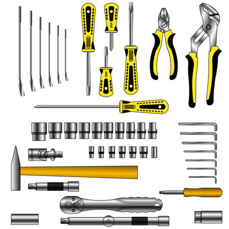 building tool: vector set of different tools over white background