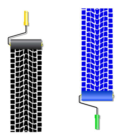 The roller draws paint from the wheel of the machine   Vector Vector
