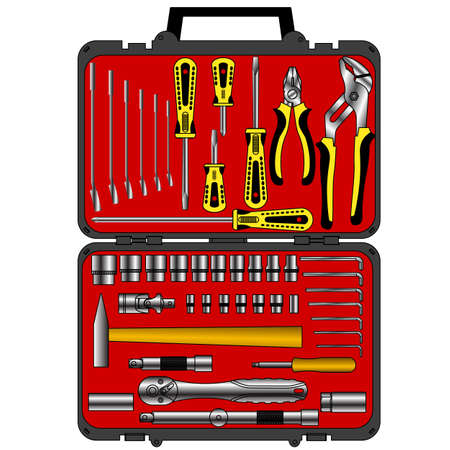 vector set of different tools  in a box Vector