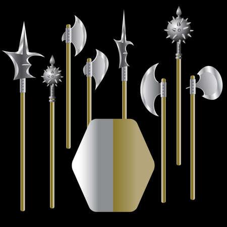 alabarda: Illustrazione di armi medievali e scudo - vettore