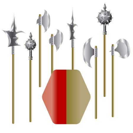 halberd: Illustration of medieval weapons and shield - vector