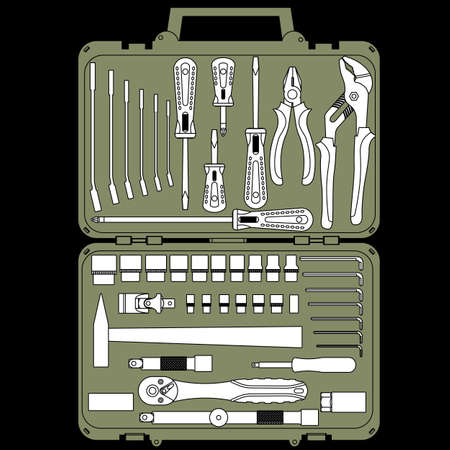 vector set of different tools  in a box Stock Vector - 12551425