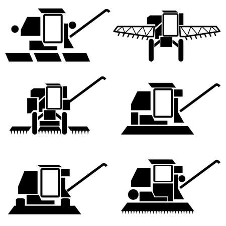 vector agricultural vehicles harvesting combine silhouettes set Vector