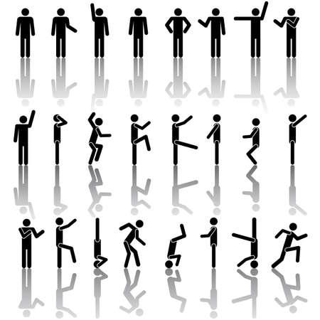 Les gens dans différentes poses vecteur. Pictogramme Icône Symbole Connexion