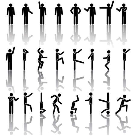 male symbol: People in different poses vector. Icon Sign Symbol Pictogram Illustration