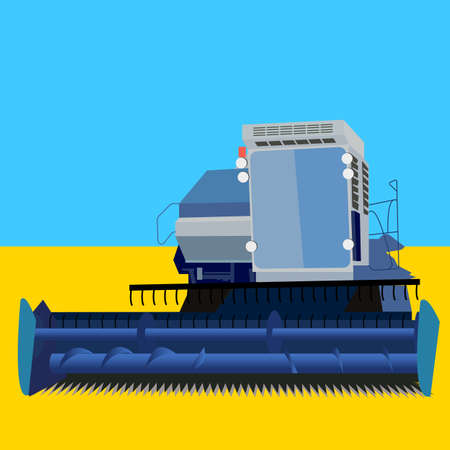 combine harvester on a wheat field with a blue sky Stock Vector - 12919306