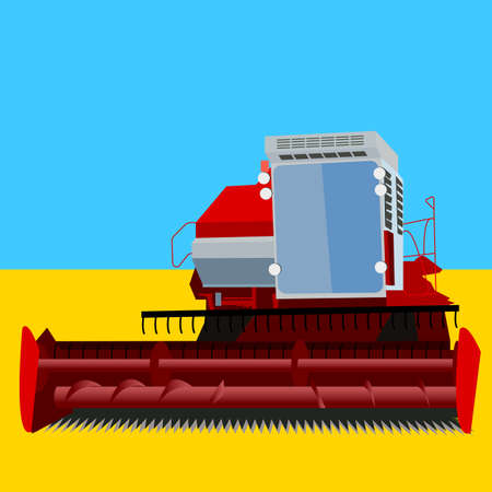 combine harvester on a wheat field with a blue sky Vector