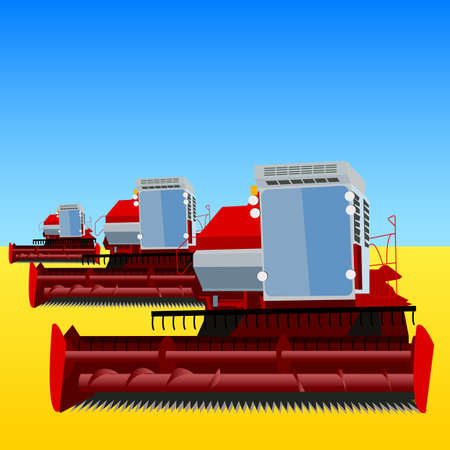 combine harvester on a wheat field with a blue sky Stock Vector - 12919335