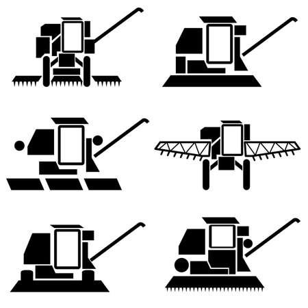 vecteur véhicules agricoles de récolte silhouettes batteuses fixées