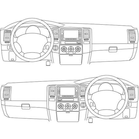 dashboard car: The car without a driver on the road. Illustration