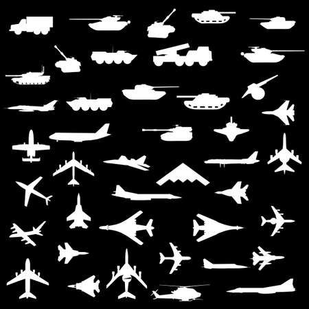 Vector set of aircraft, armored and guns. Stock Vector - 12919334