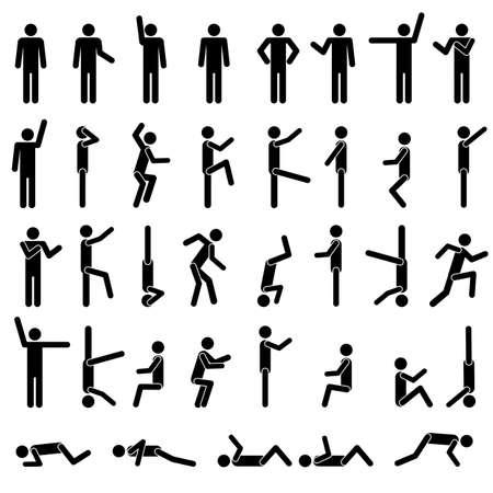 silueta masculina: La gente en diferentes poses vector. Iniciar sesi�n Icono S�mbolo Pictograma