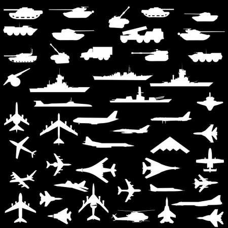 Vector set of aircraft, armored ships and guns. Illustration