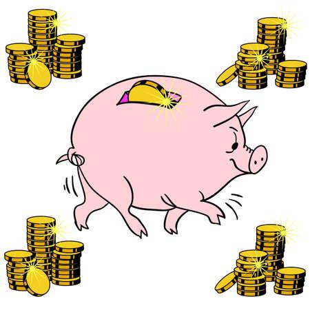 Pig piggy bank Stock Vector - 12919343