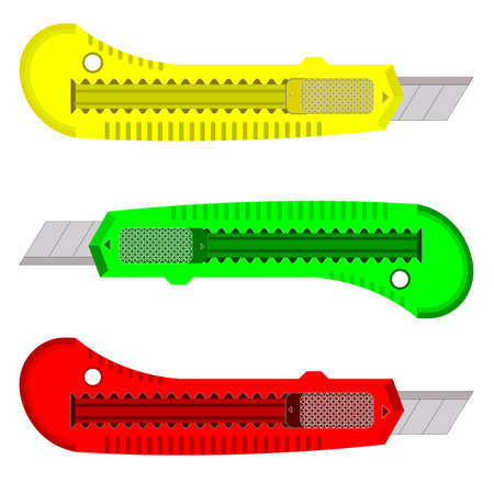 Plastic knives for the paper on a white background