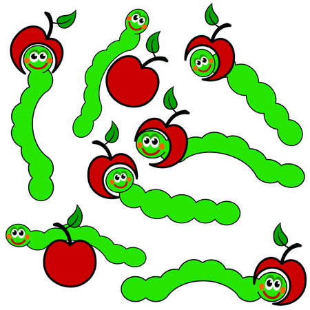 cartoon larva: apple and Worm caterpillars , vector
