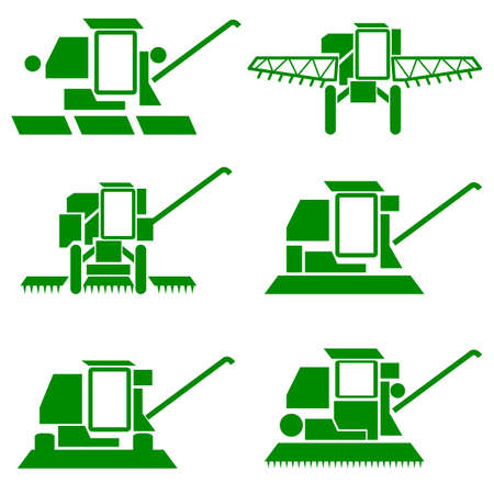 combine harvester: vector agricultural vehicles harvesting combine silhouettes set