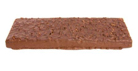 Chocolate waffles cake isolated on a white  photo