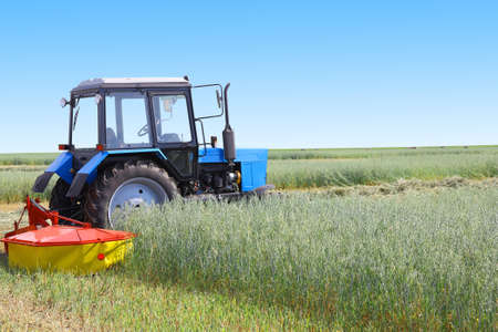 haymaking: Tractor in a field, agricultural scene in summer Stock Photo
