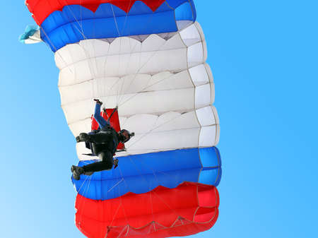 parachute jump: Parachutist Jumper in the helmet after the jump Stock Photo