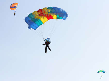 Parachutist Jumper in the helmet after the jump photo
