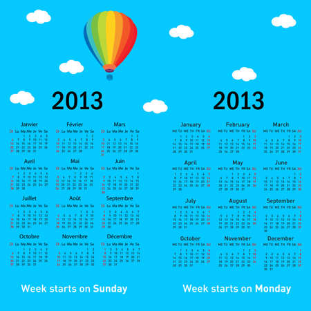 Stylish French calendar with balloon and clouds for 2013. In French and English. Vector