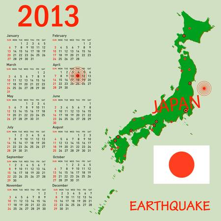 Calendar Japan map with danger on an atomic power station for 2013. Week starts on Sunday. Vector