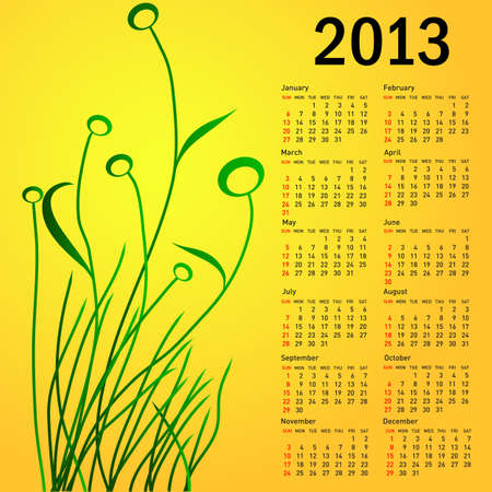 Stylish calendar with flowers for 2013. Week starts on Sunday. Vector