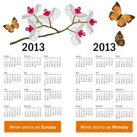 Stylish calendar with flowers and butterflies for 2013. Week starts on Monday. Vector