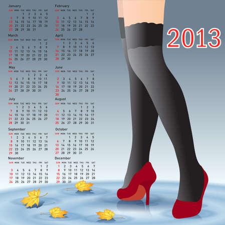 piernas de mujer: Calendario de 2013 mujeres las piernas con medias Vectores