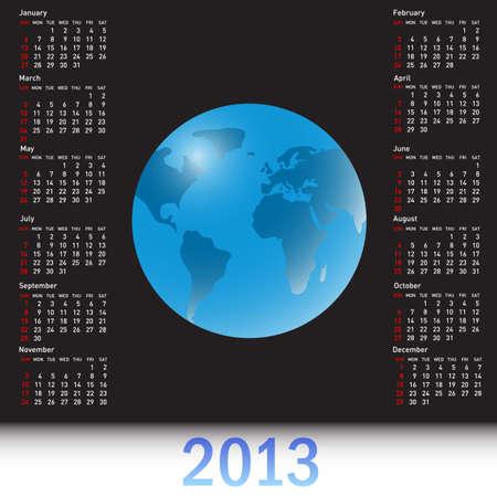 A globe Calendar for 2013 Vector