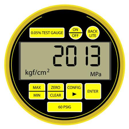 manometer: 2013 New Year modern digital gas manometer isolated on white background