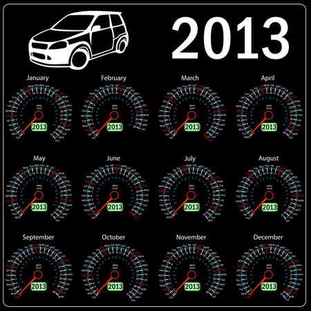 2013 year ñalendar speedometer car in vector
