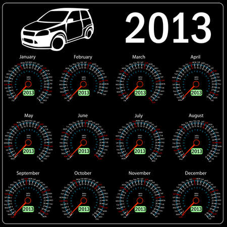 miles: 2013 year ñalendar speedometer car in vector