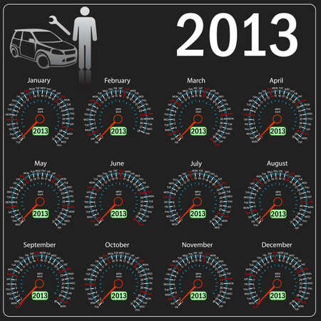 2013 year calendar speedometer car in vector  Vector