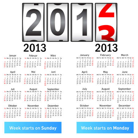 Stylish German calendar  for 2013  In German and English  Vector