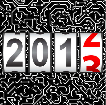 new year counter: 2013 New Year counter, vector  Seamless pattern  Illustration