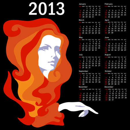 yearly: Stylish calendar with woman  for 2013  Week starts on Sunday