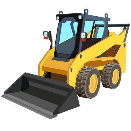 mode of transport: cami�n amarillo con un raspador para levantar la carga