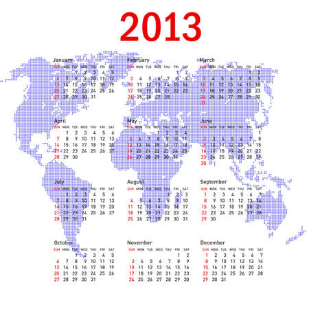 calendar 2013 with world map  Sundays first Vector