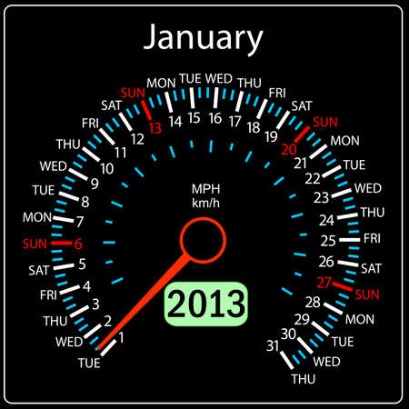 2013 year calendar speedometer car in vector  January  Vector