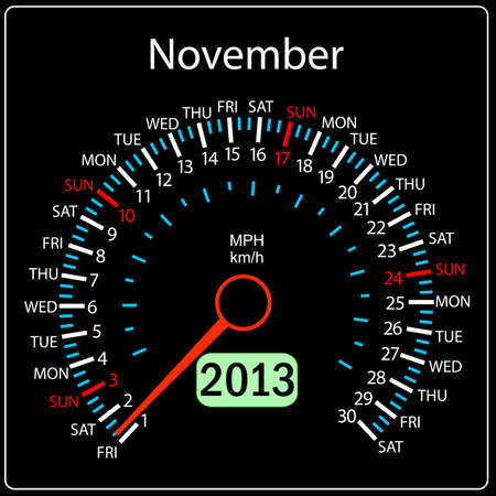 2013 year calendar speedometer car in vector  November  Vector