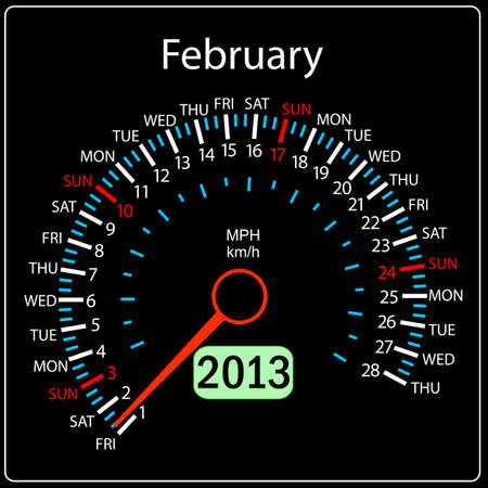 2013 year calendar speedometer car in vector  February  Stock Vector - 13084667