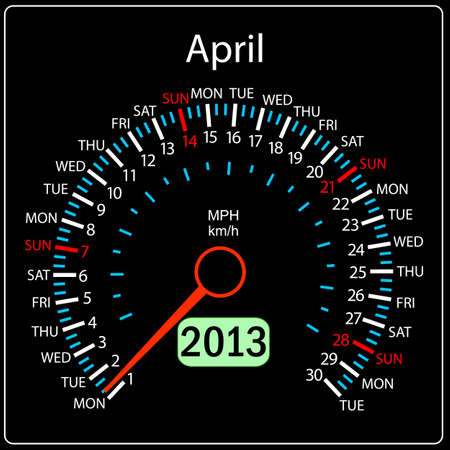 2013 year calendar speedometer car in vector  April  Vector