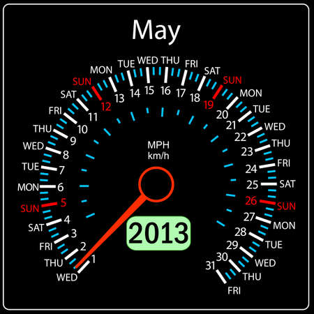 2013 year calendar speedometer car in vector  May  Vector