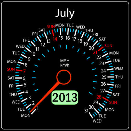 2013 year calendar speedometer car in vector  July  Vector