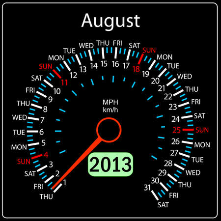2013 year calendar speedometer car in vector  August  Vector
