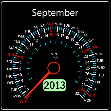 2013 year calendar speedometer car in vector  September  Vector
